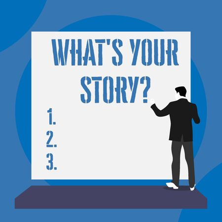 Text sign showing What S Is Your Story question. Business photo text analysisner of asking demonstrating about past life events Back view young man dressed suit standing platform facing blank rectangle