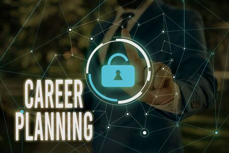 Writing note showing Career Planning. Business concept for Strategically plan your career goals and work success Male wear formal work suit presenting presentation smart device Stock fotó