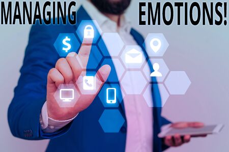 Conceptual hand writing showing Managing Emotions. Concept meaning ability be open to feelings and modulate them in oneself Banco de Imagens