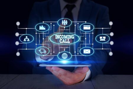 Text sign showing Incoming Call. Business photo text Inbound Received Caller ID Telephone Voicemail Vidcall Male human wear formal work suit presenting presentation using smart device