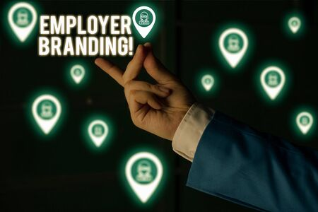 Text sign showing Employer Branding. Business photo showcasing promoting company employer choice to desired target group Male human wear formal work suit presenting presentation using smart device