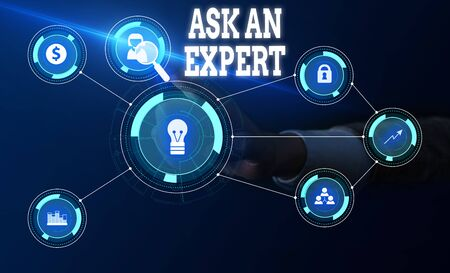 Conceptual hand writing showing Ask An Expert. Concept meaning consult someone who has skill about something or knowledgeable Woman wear work suit presenting presentation smart device