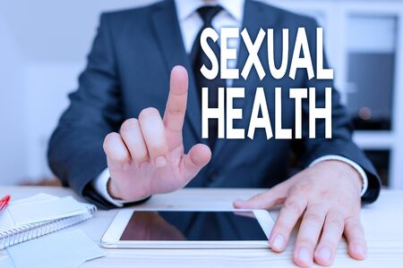 Text sign showing Sexual Health. Business photo showcasing positive and respectful approach to sexual relationships