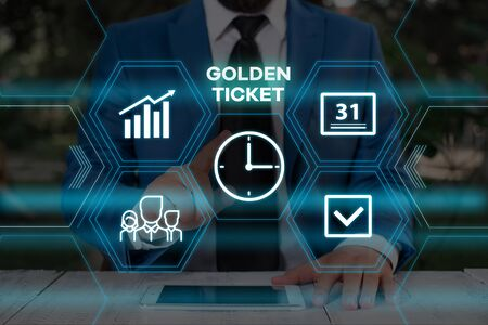 Handwriting text writing Golden Ticket. Conceptual photo Rain Check Access VIP Passport Box Office Seat Event Male human wear formal work suit presenting presentation using smart device
