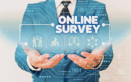 Word writing text Online Survey. Business photo showcasing Reappraisal Feedback Poll Satisfaction Rate Testimony Male human wear formal work suit presenting presentation using smart device Stock Photo