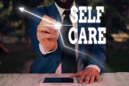 Text sign showing Self Care. Business photo showcasing the practice of taking action to improve one s is own health