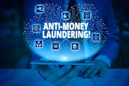 Writing note showing Anti Money Laundering. Business concept for regulations stop generating income through illegal actions Male wear formal work suit presenting presentation smart device Stock Photo