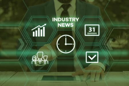 Handwriting text writing Industry News. Conceptual photo Technical Market Report Manufacturing Trade Builder Male human wear formal work suit presenting presentation using smart device 版權商用圖片
