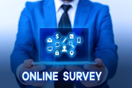 Handwriting text Online Survey. Conceptual photo Reappraisal Feedback Poll Satisfaction Rate Testimony