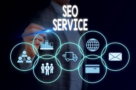 Word writing text Seo Service. Business photo showcasing techniques and procedures to increase the website visibility Woman wear formal work suit presenting presentation using smart device Фото со стока