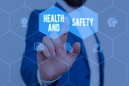 Text sign showing Health And Safety. Business photo text procedures intended to prevent accident in workplace Male human wear formal work suit presenting presentation using smart device