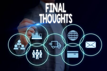 Word writing text Final Thoughts. Business photo showcasing the conclusion or last few sentences within your conclusion Woman wear formal work suit presenting presentation using smart device