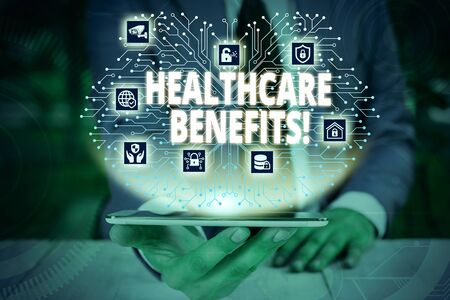 Writing note showing Healthcare Benefits. Business concept for monthly fair market valueprovided to Employee dependents Male wear formal work suit presenting presentation smart device 写真素材 - 129713151