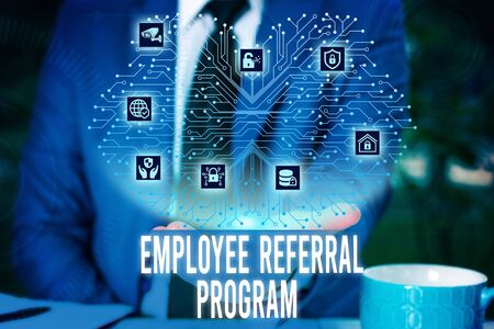 Handwriting text Employee Referral Program. Conceptual photo employees are rewarded for introducing recruits Male human wear formal work suit presenting presentation using smart device