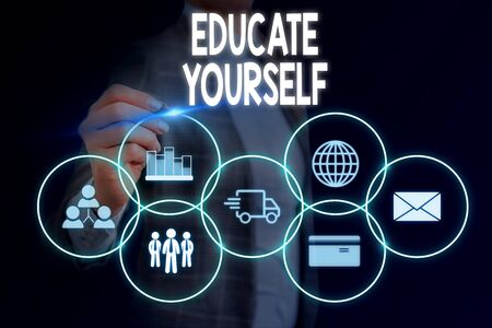 Word writing text Educate Yourself. Business photo showcasing prepare oneself or someone in a particular area or subject Woman wear formal work suit presenting presentation using smart device Stock Photo - 129713619