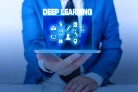 Text sign showing Deep Learning. Business photo showcasing Hierarchical Abstractions Artificial Intelligence Algorithm Stok Fotoğraf
