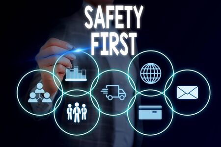 Word writing text Safety First. Business photo showcasing used to say that the most important thing is to be safe Woman wear formal work suit presenting presentation using smart device