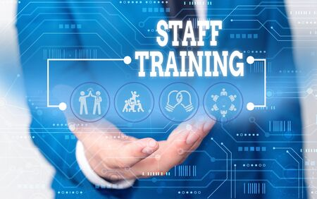 Handwriting text writing Staff Training. Conceptual photo program that helps employees learn specific knowledge Male human wear formal work suit presenting presentation using smart device
