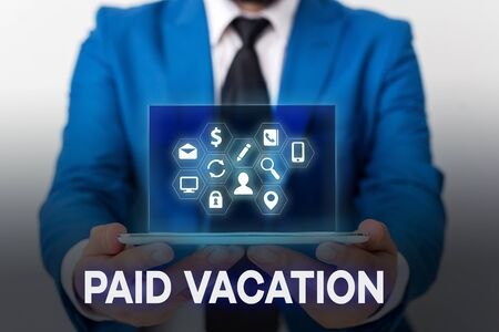 Handwriting text Paid Vacation. Conceptual photo Sabbatical Weekend Off Holiday Time Off Benefits Archivio Fotografico - 129721892