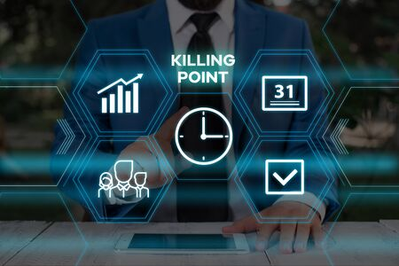 Handwriting text writing Killing Point. Conceptual photo Phase End Review Stage Gate Project Evaluation No Go Male human wear formal work suit presenting presentation using smart device