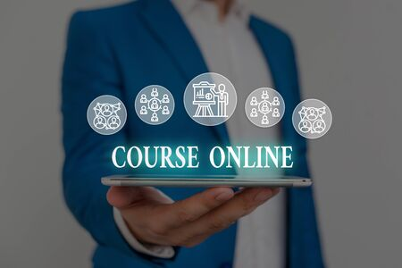 Text sign showing Course Online. Business photo showcasing eLearning Electronic Education Distant Study Digital Class Male human wear formal work suit presenting presentation using smart device