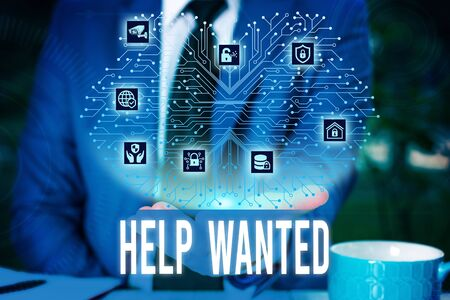 Handwriting text Help Wanted. Conceptual photo An ad in the paper an employer places to find a new employee Male human wear formal work suit presenting presentation using smart device Фото со стока