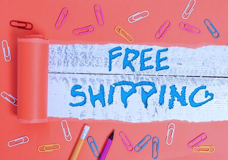 Conceptual hand writing showing Free Shipping. Concept meaning Freight Cargo Consignment Lading Payload Dispatch Cartage Stock Photo
