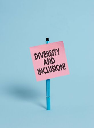 Handwriting text Diversity And Inclusion. Conceptual photo range huanalysis difference includes race ethnicity gender Ballpoint blank colored sticky note peaceful cool pastel fashion background