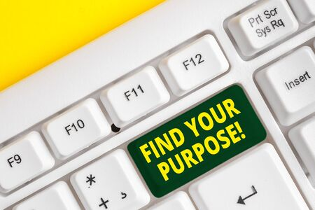Word writing text Find Your Purpose. Business photo showcasing reason for something is done or for which still exists White pc keyboard with empty note paper above white background key copy space