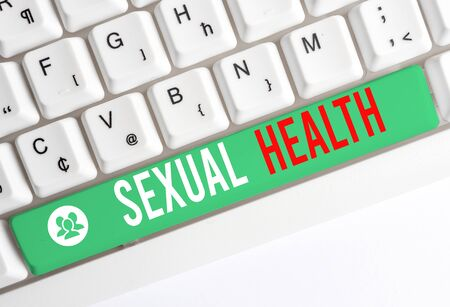 Writing note showing Sexual Health. Business concept for positive and respectful approach to sexual relationships White pc keyboard with note paper above the white background