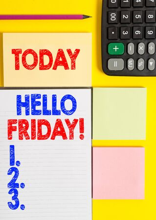 Writing note showing Hello Friday. Business concept for used to express happiness from beginning of fresh week Colored empty papers with copy space on the yellow background table