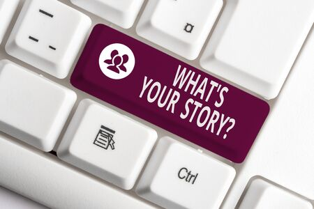 Word writing text What S Is Your Story question. Business photo showcasing analysisner of asking demonstrating about past life events White pc keyboard with empty note paper above white background key copy space 版權商用圖片