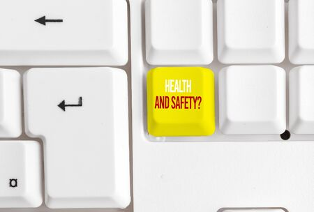 Handwriting text writing Health And Safety Question. Conceptual photo regulations and procedures to prevent accident or injury White pc keyboard with empty note paper above white background key copy space 写真素材 - 129835624