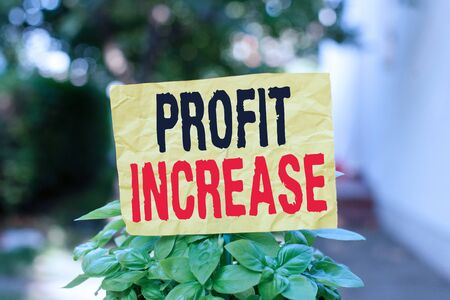 Word writing text Profit Increase. Business photo showcasing the growth in the amount of revenue gained from a business Plain empty paper attached to a stick and placed in the green leafy plants Фото со стока