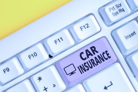 Writing note showing Car Insurance. Business concept for Accidents coverage Comprehensive Policy Motor Vehicle Guaranty White pc keyboard with note paper above the white background Stockfoto