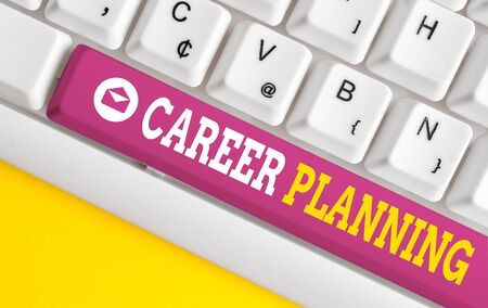 Word writing text Career Planning. Business photo showcasing Strategically plan your career goals and work success White pc keyboard with empty note paper above white background key copy space