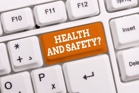 Handwriting text Health And Safety Question. Conceptual photo regulations and procedures to prevent accident or injury White pc keyboard with empty note paper above white background key copy space