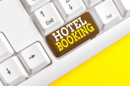 Word writing text Hotel Booking. Business photo showcasing Online Reservations Presidential Suite De Luxe Hospitality White pc keyboard with empty note paper above white background key copy space
