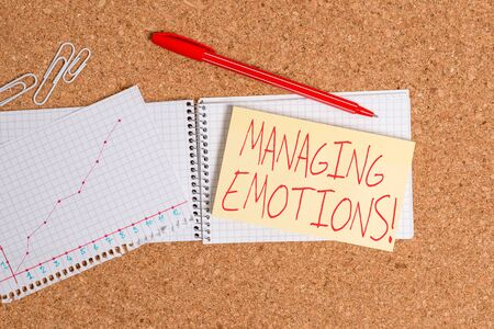 Word writing text Managing Emotions. Business photo showcasing ability be open to feelings and modulate them in oneself Desk notebook paper office cardboard paperboard study supplies table chart Banco de Imagens