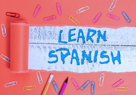 Conceptual hand writing showing Learn Spanish. Concept meaning Translation Language in Spain Vocabulary Dialect Speech