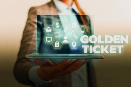 Handwriting text writing Golden Ticket. Conceptual photo Rain Check Access VIP Passport Box Office Seat Event