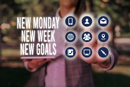 Handwriting text writing New Monday New Week New Goals. Conceptual photo showcasing next week resolutions To do list Stock fotó