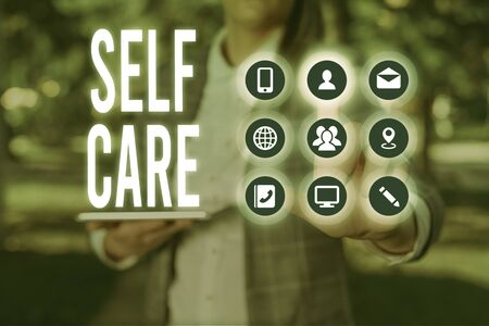 Handwriting text writing Self Care. Conceptual photo the practice of taking action to improve one s is own health