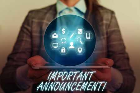 Handwriting text writing Important Announcement. Conceptual photo spoken statement that tells showing about something
