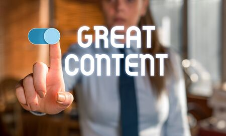 Text sign showing Great Content. Business photo showcasing Satisfaction Motivational Readable Applicable Originality Blurred woman in the background pointing with finger in empty space