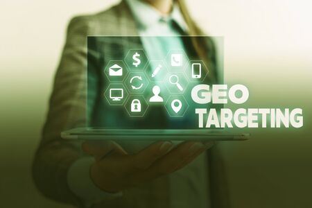 Handwriting text writing Geo Targeting. Conceptual photo Digital Ads Views IP Address Adwords Campaigns Location Stock fotó