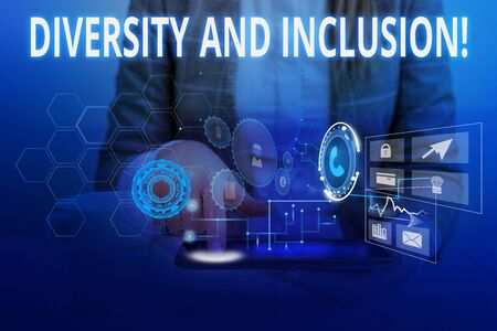 Word writing text Diversity And Inclusion. Business photo showcasing range huanalysis difference includes race ethnicity gender Woman wear formal work suit presenting presentation using smart device Stock Photo