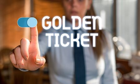 Text sign showing Golden Ticket. Business photo showcasing Rain Check Access VIP Passport Box Office Seat Event Blurred woman in the background pointing with finger in empty space