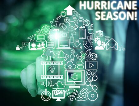 Conceptual hand writing showing Hurricane Season. Concept meaning time when most tropical cyclones are expected to develop Woman wear work suit presenting presentation smart device