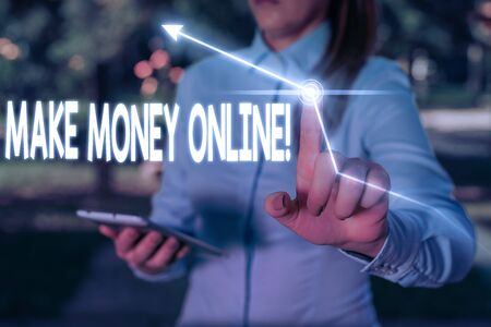 Writing note showing Make Money Online. Business concept for making profit using internet like freelancing or marketing